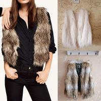 New Arrival 2015 Women's Autumn Winter Faux Fur Vest Coat Short Colete Pele Female Fur Vests Coletes Femininos De Pele