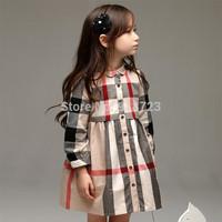 2014 new Brand autumn and winter girls dress 2-7T classic plaid fashion collar button princess dress high quality longsleeve