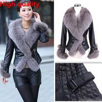 2015 Hot sale Winter New Products Female Fur Coat Slim Full Sleeve Leather Jackets Blazer Women Plus size XXXL Fox Fur Outerwear