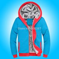 Hot-selling sweatshirt male plus velvet casual cardigan with a hood thickening sweatshirt Down & Parkas 9801