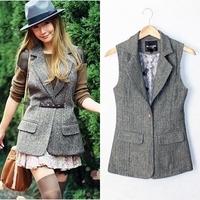 Free shipping British Style Plus Size Autumn and Spring Slim Woolen Suit Vest Women Herringbone Waistcoat