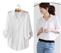 xxl shirts 2014 summer loose plus size clothing 100% cotton half-sleeve shirt casual all-match batwing sleeve shirt female tops