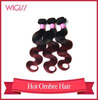 Grade AAAAA Ombre Hair Extension 1pcs/Lot Two Tone #1B/Burg Brazilian Body Wavy Human Hair Weave WigissH6095AZ
