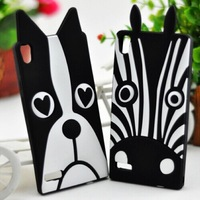 For Huawei Ascend P6 G610 G700 Cute Cartoon Dog Zebra Soft Silicone Back Cover Case Free Shipping + Screen Protector