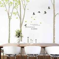 2014 New Arrival Environmental Green Sticker Large Tree Wall Sticker Forest Birds Warm Treetops Wall Stickers