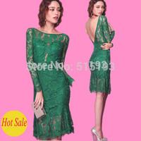 Women's vintage lace embroidery o-neck long full sleeve knee length bandage dress vestido de renda verde manga longa green