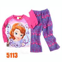 Girls Princess Sofia Pajamas Set Kids Autumn -Summer Clothing Sets New 2014 Wholesale Children Cartoon 1-6Y Pyjamas J-5113