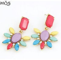 E0152 European and American fashion jewelry wholesale ear fluorescent color alloy earrings wholesale flower lady