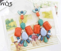 E0153 European and American jewelry Korean version of the bohemian drop hollow hollow large stones earrings exaggerated