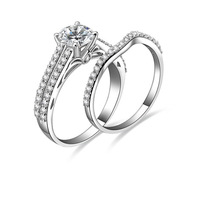 Sterling Silver Princess Cut 1 carat NSCD cz diamond engagement rings settings for women (MATE R142)
