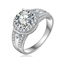 Elegant Crystal   Ring 18K Gold Plated Made with Genuine Austrian Crystals Full Sizes Wholesale-R007