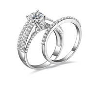 Brilliant 1 Carat Solid Sterling Silver Wedding Engagement Ring Set, Bridal Ring, with Cubic Zirconia (MATE R143)