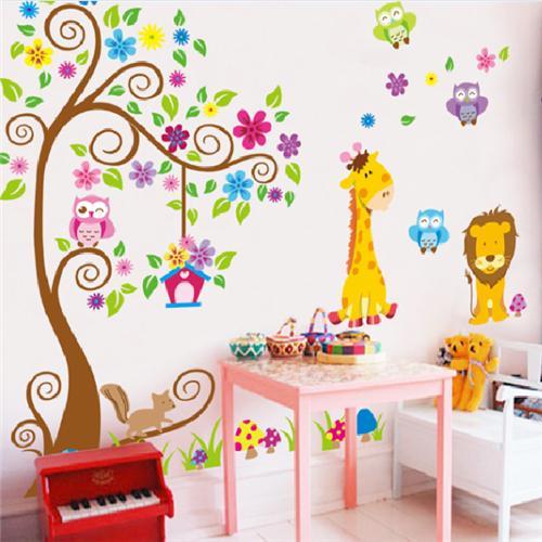 hayvan zürafa baykuş ağaç duvar çıkartmaları ev dekorasyon duvar oturma odası kanepe vinil duvar çıkartmaları çocuk odaları için ev dekorasyonu(China (Mainland))
