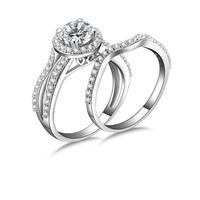 1.0 Carat (ctw) 14 k white gold plated Cut cz Diamond Ladies Engagement Bridal Halo Ring set 1/2 CT (MATE R144)