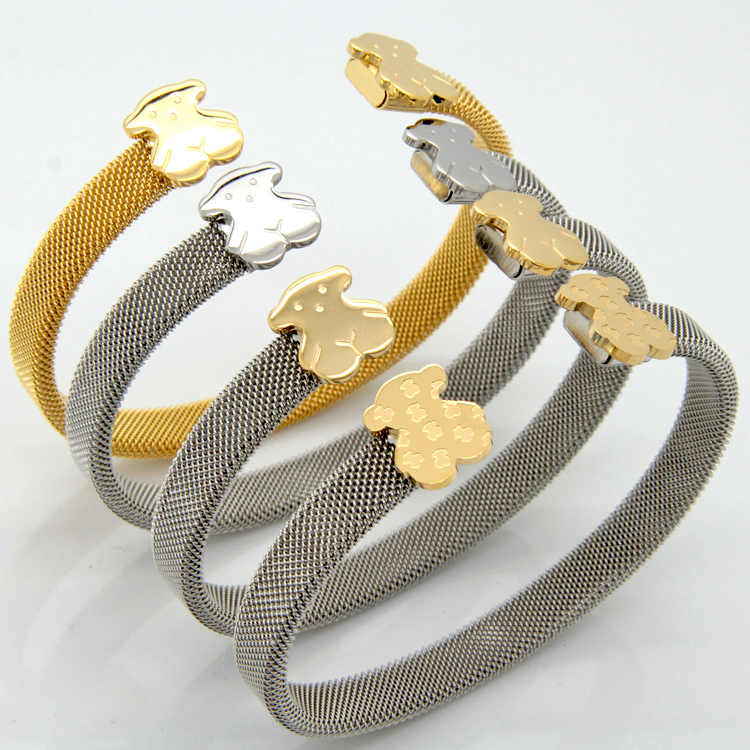 Fashion Women Jewelry C Mesh Winnie The Pooh Cuff Bracelets Bangles Stainless Steel Teddy Bears Jewelry(China (Mainland))