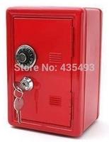 Mini iron coin safekeeping piggy bank lock the safe baby blue