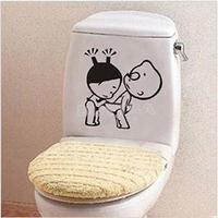 2014 New Funny Kids Cartoon Pattern Toilet Stickers Wall Paper Bathroom Decor Creative Cute Wall Stickers
