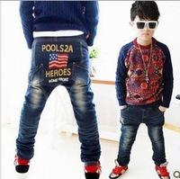 Factory outlets plus thick velvet boys pants fashion personality PP Union Jack Winter denim trousers a generation of fat