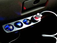 Car Accessories  Power Adapter Charger  12V 24V USB LED Light Switch Socket Splitter 4 Way Car Cigarette Lighter