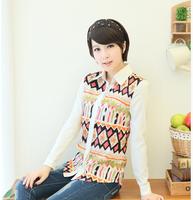 New 2014 Women Spring Autumn  large size women long sleeve blouse 4343,Printed Turn Down Collar Shirts  L XL XXL XXXL
