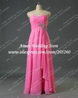 Real Photos Vestido De Madrinha Sweetheart Blush Hot Pink Chiffon Long Bridesmaid Dresses 2014 For Weddings Plus Size U366
