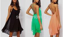 2014 Sexy Women Summer Chiffon Sleeveless Backless Pure Hue Spaghetti Strap Asymmetrical Dress Free Shipping
