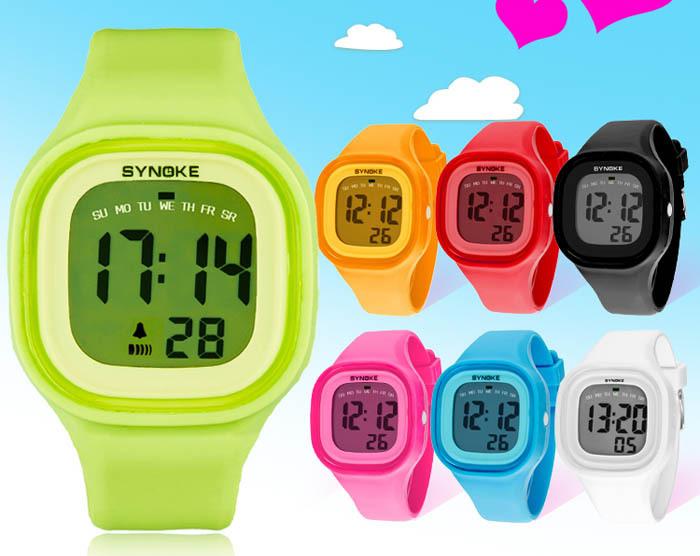 Selljimshop 2015 1PC Silicone LED Light Digital Sport Wrist Watch Kid Women Girl Men Boy Freeshipping