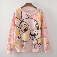[Magic] 2014 Hot model cartoon Rabbit flowers cotton hoodies o neck fleece warm sweatshirts women 3color free shipping