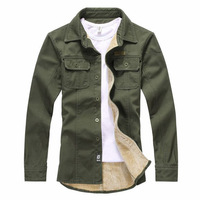 Autumn & Winter turn-down collar Army green military style shirt long sleeve flannel shirts men