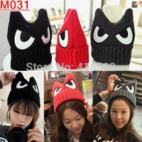 M031--2015 New Fashion  Magic angry big eye ear hat Women's Winter Beanie Hat Free Shipping