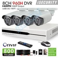 New Zmodo OEM 8ch 960h cctv dvr with 800TVL Day and Night Security Camera system 8 channel dvr hdmi 1080p usb 3g wifi alarm