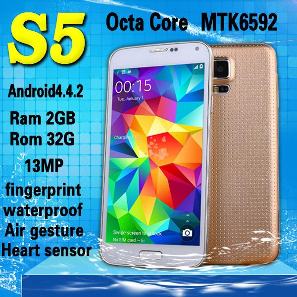 "Fingerprint Heart beat sensor Waterproof S5 Phone MTK6592 i9600 phone Octa Core Ram 2GB Rom 32GB 1.7GHz Android4.4 OS 5.1""16MP(China (Mainland))"
