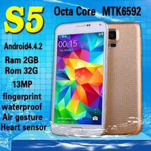 "Fingerprint Heart beat sensor Waterproof S5 Phone MTK6592 i9600 phone Octa Core Ram 2GB Rom 32GB 1.7GHz Android4.4 OS 5.1""16MP (China (Mainland))"