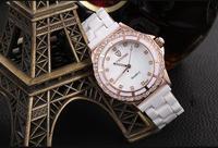 Luxury Women Crystals Dress Watches Elegant Lady Ceramic Bracelet Clock Quartz Analog Timepiece Water Resistant Relojes NW974