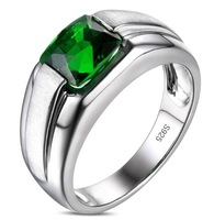 Men's 925 Silver Filled Square Green Emerald CZ Crystal Stone Solitaire Wedding Ring ClassicJewelry