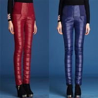 Hot women pencil pants,winter high waist tight warm pant,white duck down trousers, two sided boot cut Asian/Tag Size S-3XL