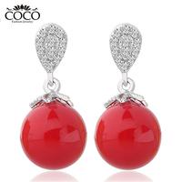 Fashion Zircon Shell Pearl Earrings 2014 New Female Gold-plated Earring Jewelry Wholesale
