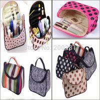 New Trendy Multipurpose Handbags Cosmetic Bags Women Dot & Stripe Print Leather Travel Bag For Make Up Purse Case Cell Phone Bag