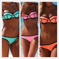 BK125 Bikini Swimwear Women Push Up Neoprene Swimwear Sexy Bandage Triangle Bikini Set 6 Color Brand Swimsuit Drop Shipping