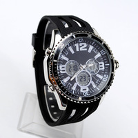 Fashion Men Casual Rubber Wristwatch Multi-functional Analog Digital Clock Students Chrome Watches 30M Waterproof Relojes NW702