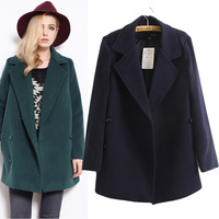 New 2014 Women European Fashion Collar Long Sleeve Slim Fit Woolen Winter  Women Coat  Woman Clothes casacos femininos