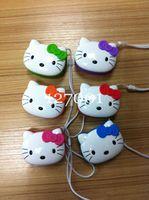 DHL 20 PCS New Hello Kitty Cartoon Loving Mini Portable Speaker Amplifier FM Radio USB MicrSD TF Card MP3 Player