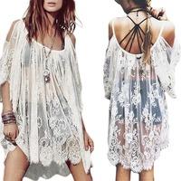 Vintage Boho Hippie Women's Floral Crochet Lace Party Short Mini Dress Tops