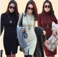 Plus Size Women's Dresses New 2014 Autumn Casual Winter Dresses Women's Clothing Slim Hedging Long Sleeve Turtleneck Split Dress