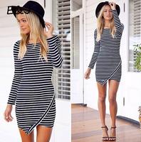 2014 AW Free shipping Slim stylish striped dress flouncing. Party Dress