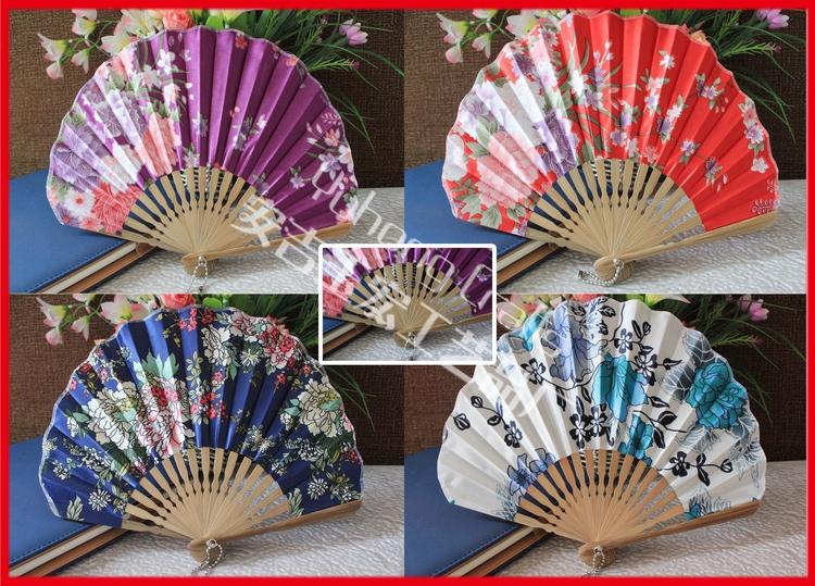 Free Shipping 100pcs/lot assorted colors & flower designs seashell shape Japanese style craft bamboo fan(China (Mainland))