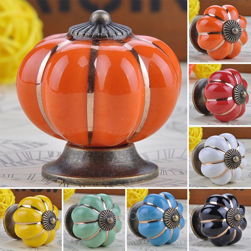 Pumpkins Knobs Europe Ceramic Door Cabinet Cupboard Handles Pull Drawer 40mm ZMHM375(China (Mainland))