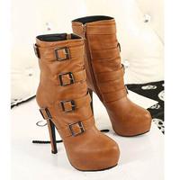 2014 Winter Princess fashion martin boots for women high boots platform high heels 13cm motorcycle wedding shoes J3483