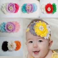 Shabby Frayed Flower 30Pcs/Lot Pearl Rhinestone Baby Christmas Chiffon Shabby Hair Flower Headband Girl Hair Accessories