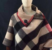 cashmere brand poncho plaid cape poncho winter Horn button cloak superhero cape shawls cape poncho with gift box